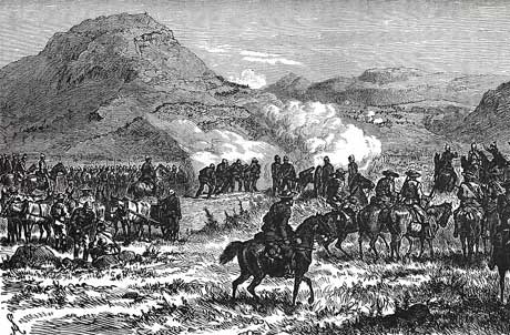 Drawing of a battle at Laings nek