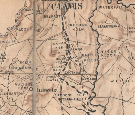 Early map of Lang's Nek