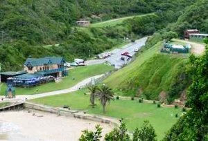 The beach area offers both grass and sand to visitors and easy access by road