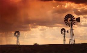 Karoo windmills at sunset