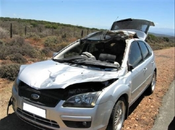 The driver of this car was lucky to escape alive after hitting a kudu