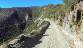A narrow and dangerous section of the pass - beware of rockfalls!