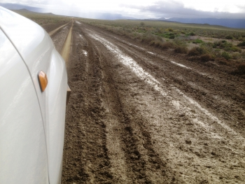 Aproaching the pass from the south on muddy R355